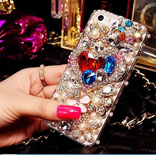 iPhone 7 Plus Crystal Diamond Case,iPhone 7 Plus Rhinestone Case,Luxury Colorful Heart-shaped Crystal Rhinestone Diamond Bling Clear Hard Back Phone Case Cover For iPhone 7 Plus ()