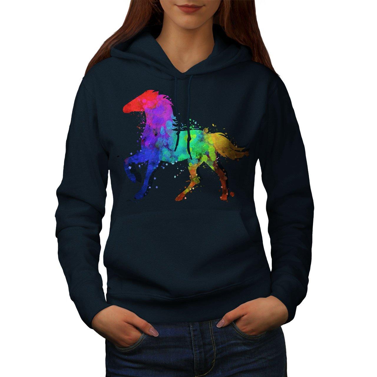 Wellcoda Splash Horse Paint Womens Hoodie, Dye Color Print Hooded Sweatshirt