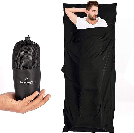 Saco de dormir Traveller 2 en 1 con cremallera integral: saco de dormir de viaje ligero y manta de viaje XL en uno, saco de dormir de verano interior, ideal para viajes