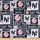 new york yankee cotton fabric - MLB Cotton Broadcloth New York Yankees Blue/White Fabric By The Yard