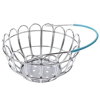 Baoblaze Cestino Basket Cibo Frutta Ceste Negozio Shopping Mart Miniatura Cucina Metallo Regale Bambino - Blu