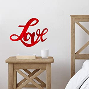 Redline Steel Love Wall Art - Cursive Calligraphy Quote Signs for Wall Decor and Accent (Red)