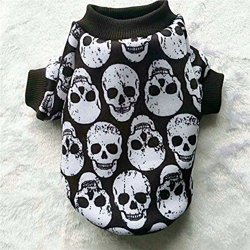 LXLP Dog Clothes,Halloween Pet Puppy Small Dog Cat Ghost Costumes Skull Head Vest T-Shirt Apparel for Dogs-10 size (White Ghosts, S)