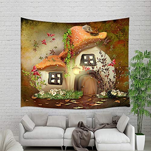 NYMB Magic Plants Wallpaper Tapestry Wall Hanging, Fairy Mushroom House with Wildflower Butterfly Wall Blanket for Home Decorations College Dorm Decor Living Room Bedroom Bedspread, 60X40in