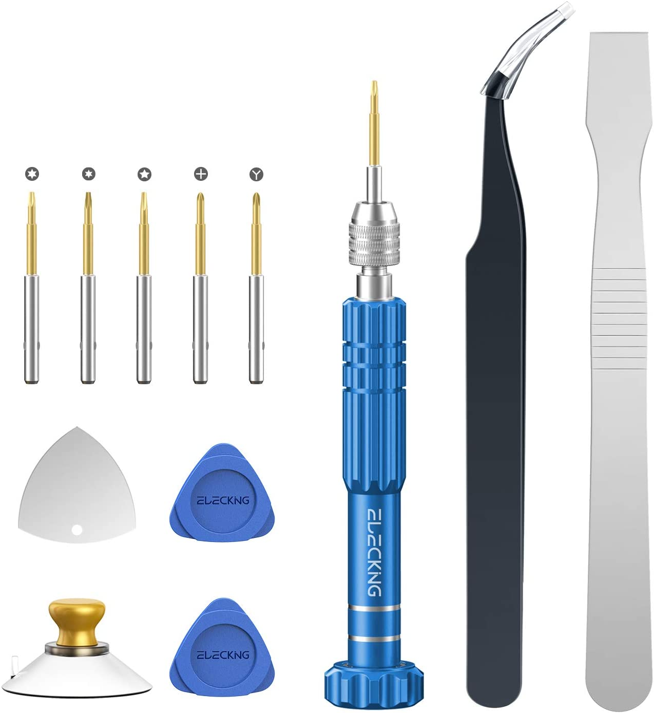 ELECKING 5 in 1 Multifunctional Precision Screwdriver, Repair Tool Kit with Phillips, Pentalobe, Tri-Point, Torx Magnetic Screwdriver Kit for iPhone, iPad, Electronics, Laptop, Tablet and Eyeglass
