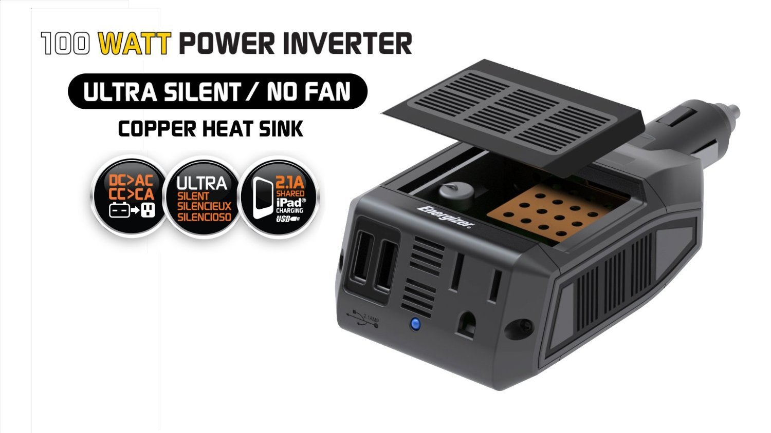 Energizer EN100 Ultra Compact DC to AC 100W Direct Plug-in Power Inverter 1