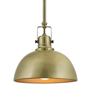 "Kira Home Belle 9"" Contemporary Industrial 1-Light Pendant Light, Adjustable Length + Shade Swivel Joint, Antique Brass Finish"