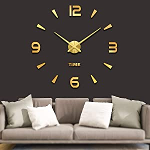 VANGOLD Large 3D DIY Wall Clock Roman Numerals Clock Frameless Mirror Surface Wall Sticker Home Decor for Living Room Bedroom