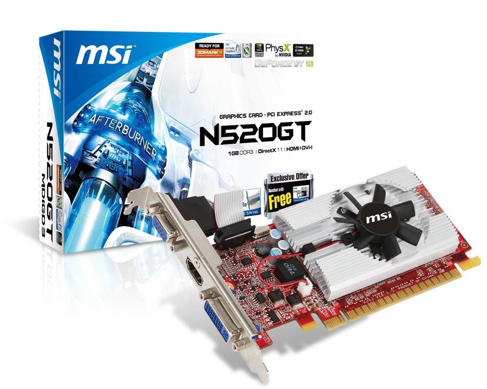 MSI N520GT-MD1 GeForce GT520 - Tarjeta gráfica NVIDIA (PCI-e ...