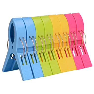 ilyever 8 Pack Fashion Color Beach Towel Clips for Beach Chair or Pool Loungers on Your Cruise-Jumbo Size-Keep Your Towel from Blowing Away,Clothes Lines
