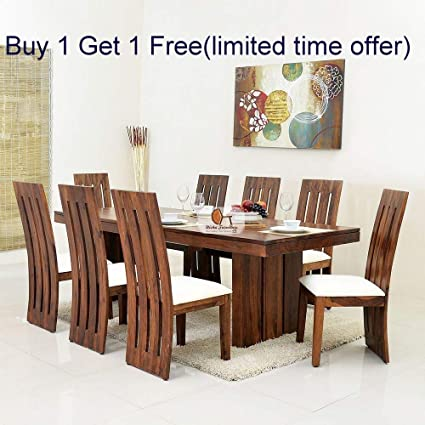 Nisha Furniture Sheesham Wooden Dining Table Set 8 Seater Dining Table Set With 8 Chairs Home Dining Room Furniture Natural Teak Finish