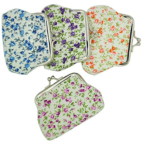 Sewing Coin Purse - Oyachic 4 Packs Coin Pouch Canvas Purse Pattern Clasp Closure Wallet Exquisite Gift 3.5