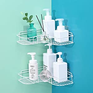 Laigoo Adhesive Shower Corner Shelf, Metal Shower Caddy Bathroom Shelf Non-Drilling Floating Shelf for Kitchen/Bathroom Organizer and Storage (2 Pack, White)