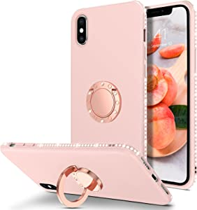 BENTOBEN iPhone Xs Max Case 2018, Slim Silicone | 360° Ring Holder Kickstand | Rhinestone Soft Rubber Bumper Shockproof Women Girls Phone Case Cover for iPhone Xs Max 6.5 Inch 2018, Sand Pink