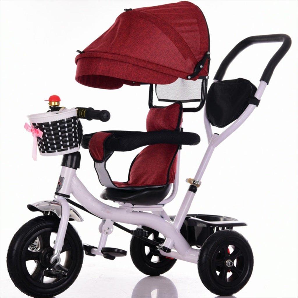 三輪車ベビーキャリッジバイク子供おもちゃトロリーチタンホイール/泡ホイール自転車3ホイール、回転可能な座席(ボーイ/ガール、1-3-5歳) (色 : 赤, サイズ さいず : A) B07DVMJNHB A|赤 赤 A