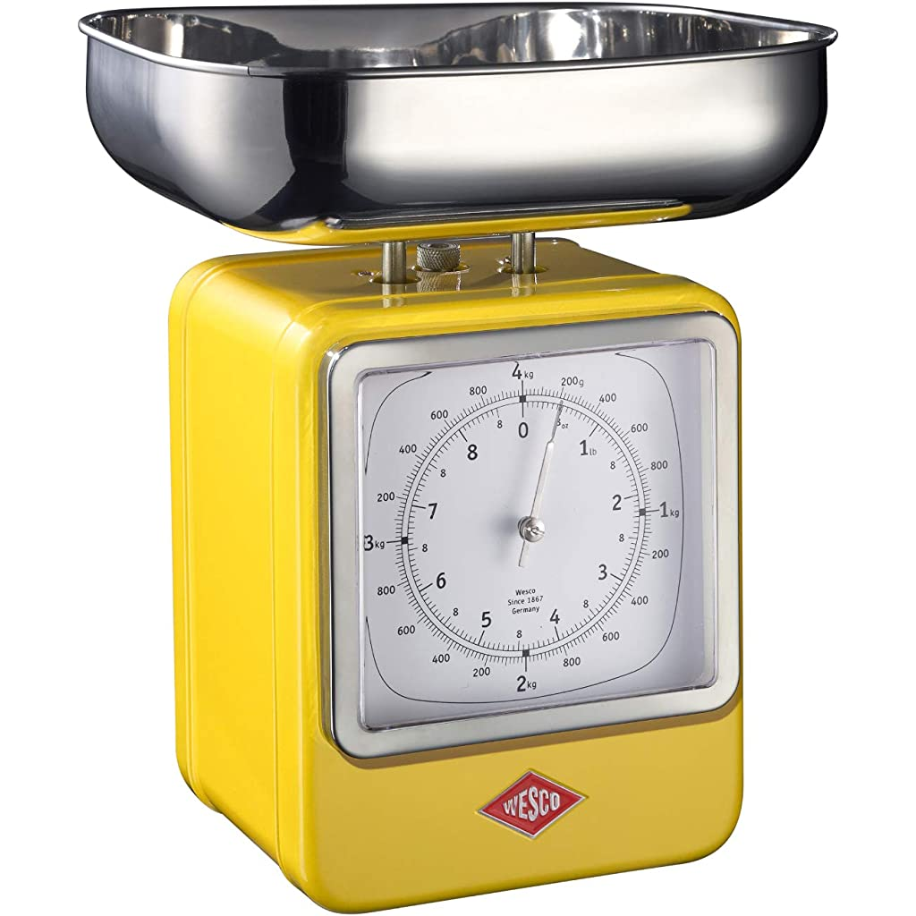 Wesco Lemon Yellow Weighing Scale and Clock