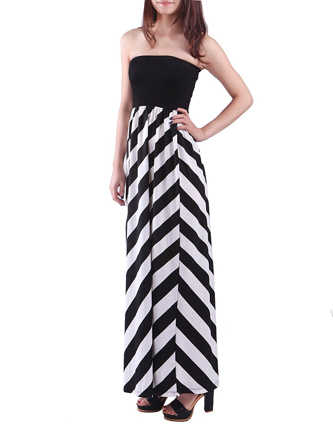 eff2bd1a789 HDE Women s Maternity Dress Strapless Tube Top Pregnancy Sundress Long Skirt  at Amazon Women s Clothing store