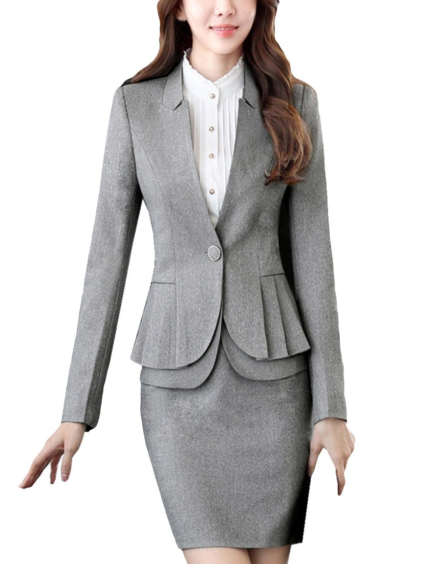 MFrannie Women Winter One Button Collarless Blazer and Skirts Suit Set