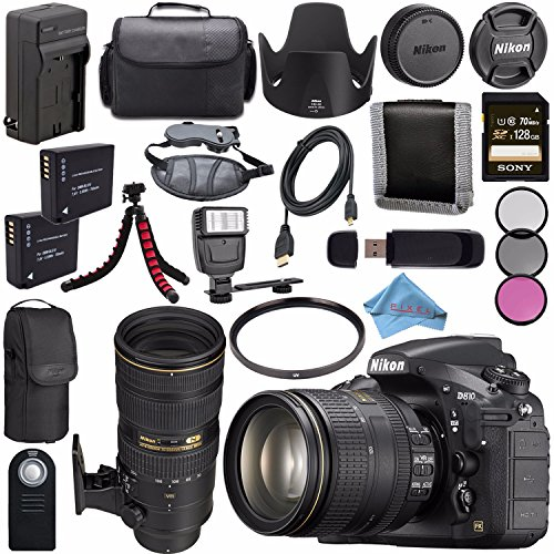 Nikon D810 DSLR Camera w/ 24-120 VR Lens 1556 + Nikon AF-S NIKKOR 70-200mm VR II Lens + 77mm 3 Piece Filter Kit + EN-EL15 Lithium Ion Battery + External Rapid Charger + Sony 128GB SDXC Card Bundle