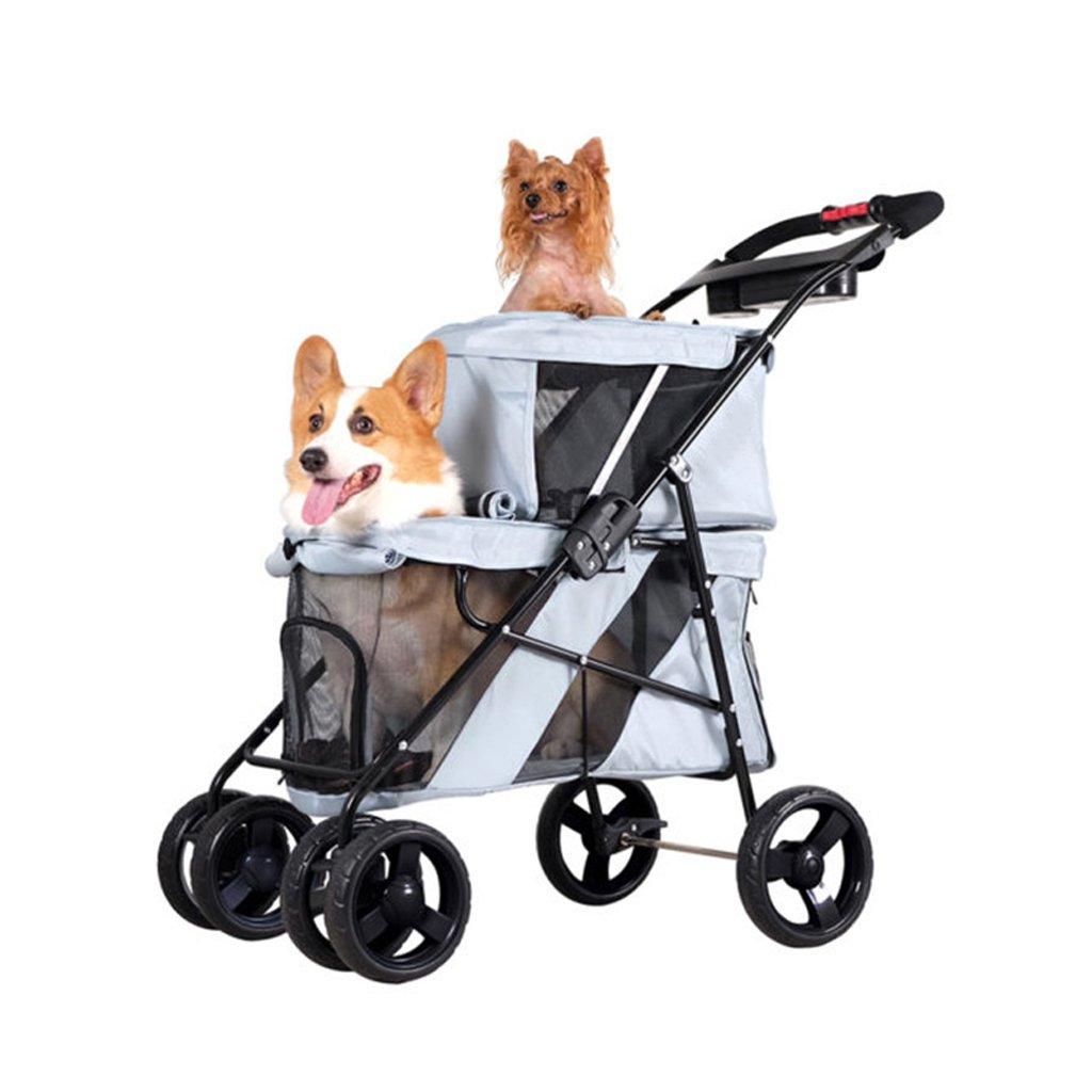 PLDDY Doppio strato, carrello per cani, auto per gatti, carrello per animali domestici, pieghevole, auto per bambini, passeggino per animali domestici (colore   Grigio)