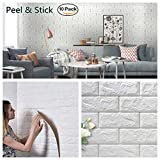 Arthome White Foam Brick 3D Wall Panels Self-adhesive Wallpaper for Living Room Bedroom Background Wall Decoration (10 Pack 56.9 sq feet)