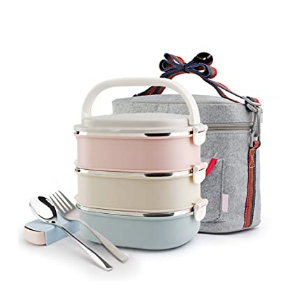EgoEra® Stainless Steel Insulated Lunch Box, 2 4L Square Lunch Boxes with  Compartments BPA Free Food Storage Containers Carrier Thermal Lunch Box for