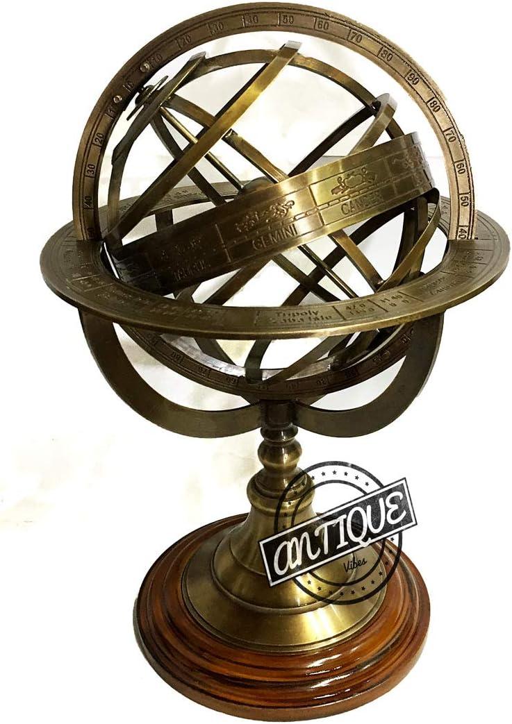 Vintage Compass Armillary Globe Celestial Astronomical Clock Sphere Desk/Table Decor Gift for Father/Mother/Teachers