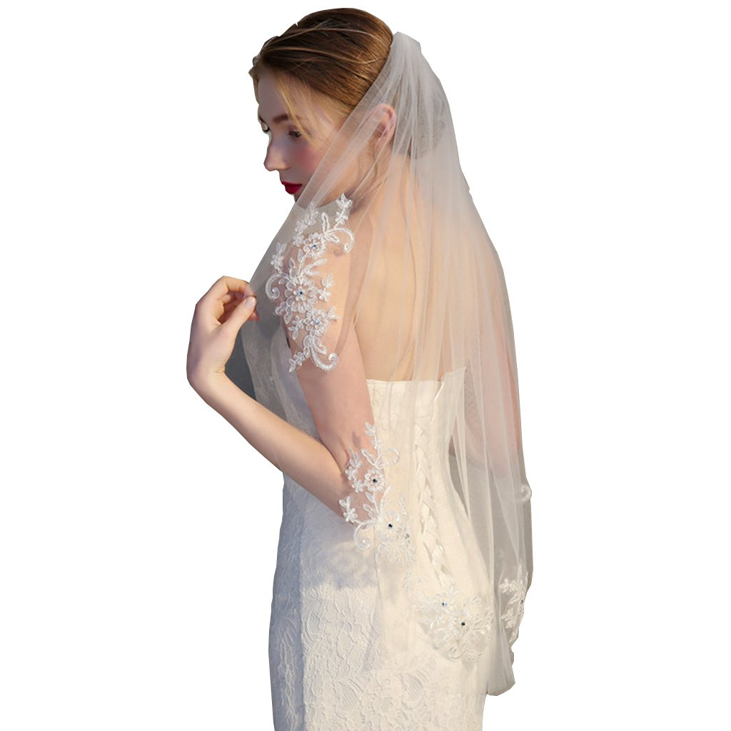 Colorful House Bride 1 Tier Sequined Pearls Crystal Wedding Tulle Bridal Veil