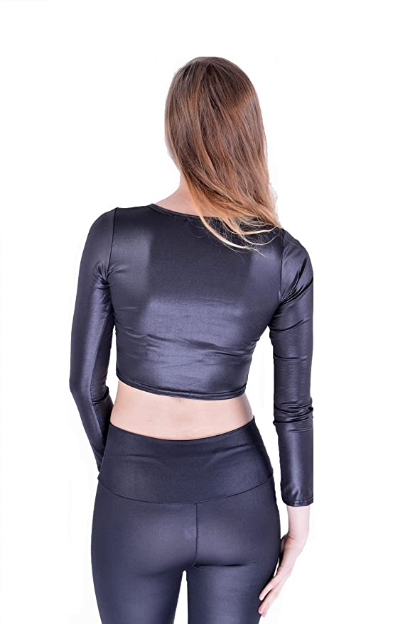 d5ff0ab89fe9e Mymixtrendz® Womens Long Sleeve Wet Look PVC Party Crop Top T Shirt  Amazon. co.uk  Clothing