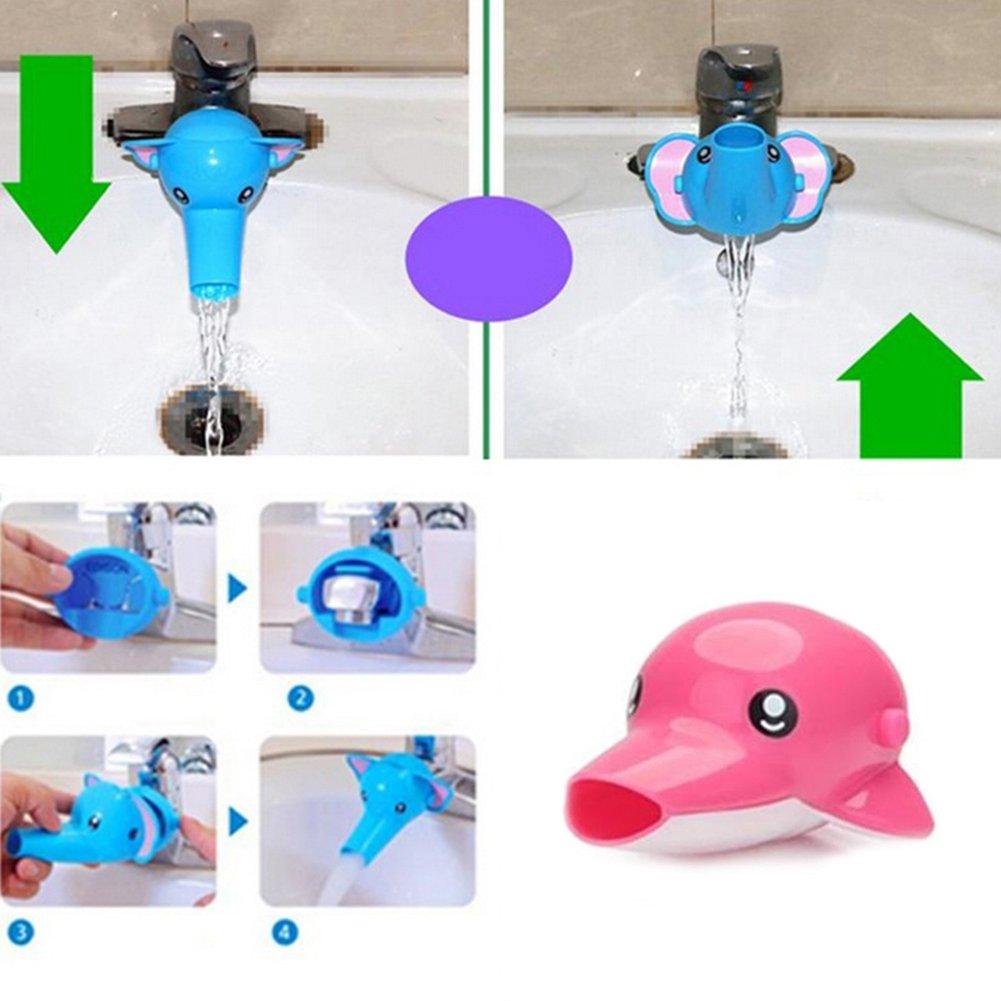 WiFndTu color azul Grifo de agua con boquilla extensora para ni/ños dise/ño de delf/ín