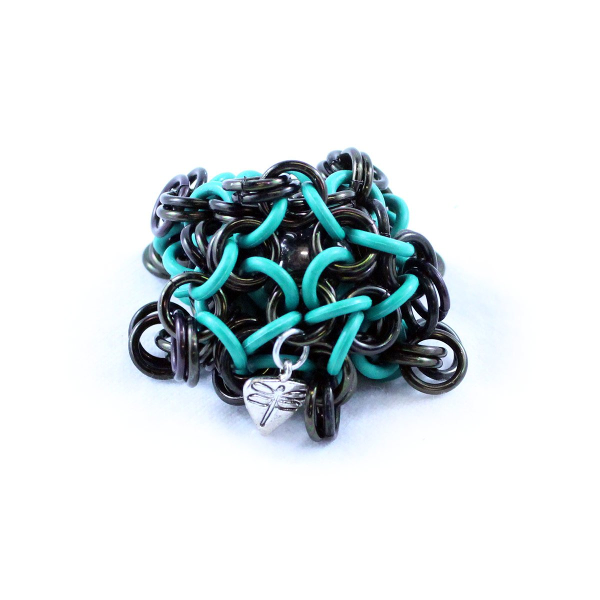 Dragonfly Footbags Black and Teal 22 Gram Chainmail Footbag (Hacky Sack)