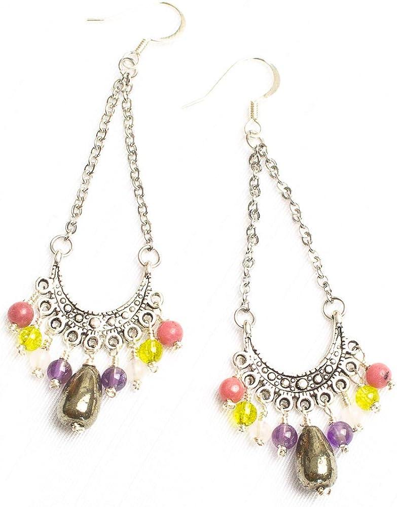 Kimaya Bijoux - Pendientes de piedra natural peridoto, rodocrosita, cuarzo rosa y pirita
