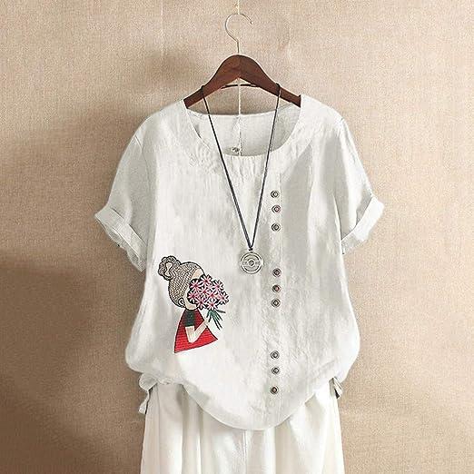 Modaworld Donna T-Shirt Top Plus Size Fish Bone Stampare Fashion Tinta Unita Largo Oversize Bluse
