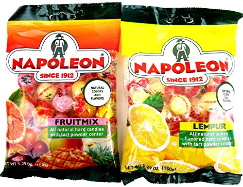 Napoleon Hard Candies 2-Flavor Variety: One 5.29 oz Bag Each of Lempur (Lemon) and Fruit Mix in a Gift Box