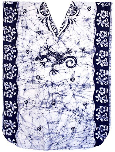 Women's Beachwear Long Dress Caftan MAXI Dress Batik N Blue Lizard, [ONE (Unique Batik)