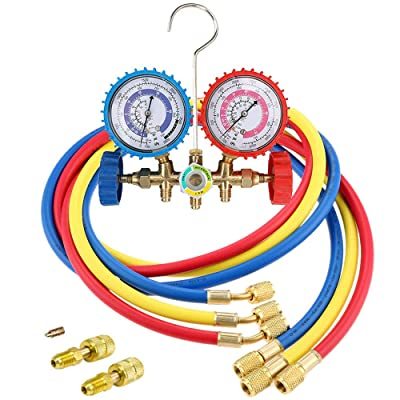 "LIYYOO Air Conditioning Refrigerant Charging Hoses with Diagnostic Manifold Gauge Set and 2 Quick Coupler for R410A R22 R404 Refrigerant Charging,1/4"" Thread Hose Set 60"" Red/Yellow/Blue (3pcs): Automotive"