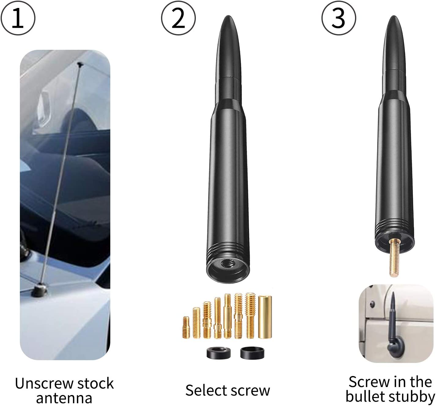 Vehicle Truck Bullet Antenna Universal Car Antenna Replacement Radio Antenna for Dodge RAM 1500 2500 3500 Ford F150 F250 F350 Super Duty Raptor
