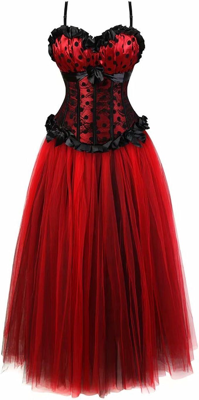 Corsagenkleid Rock Korsett mit träger Kleid Lang Tutu Damen gestreift  Spitze sexy große größen festlich
