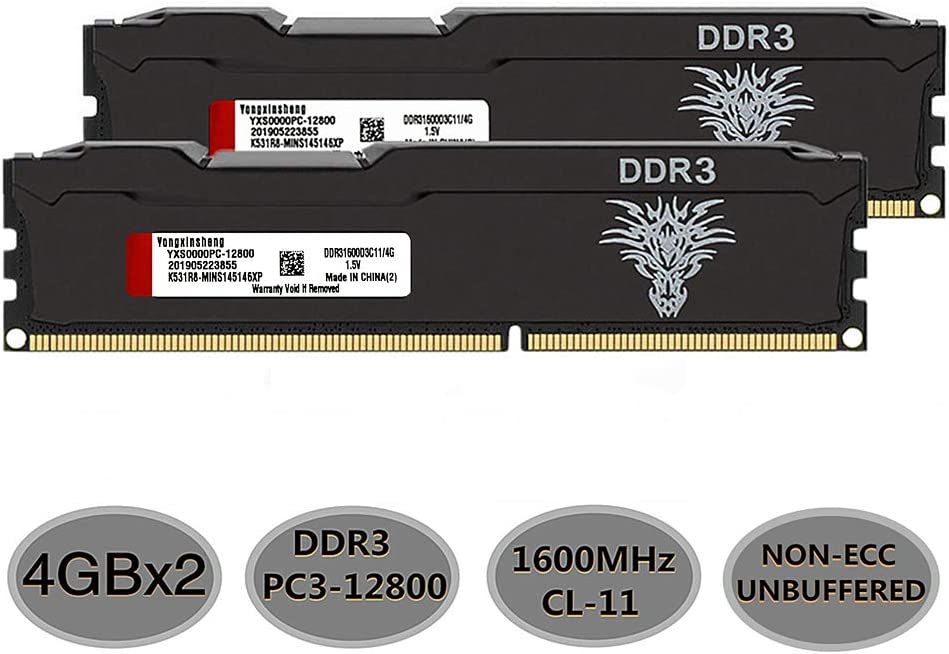 Yongxinsheng DDR3 RAM (4GBx2) 8GB Kit 1600MHz Desktop Memory UDIMM (PC3-12800) CL11 240Pin 1.5V Non-ECC Unbuffered Computer Stick Upgrade Module