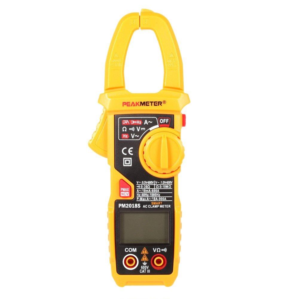 PEAKMETER PM2018S Professional Smart Digital AC Current Clamp Meter LCD Multimeter Voltage Resistance Continuity Measurement Tester Automatic Range