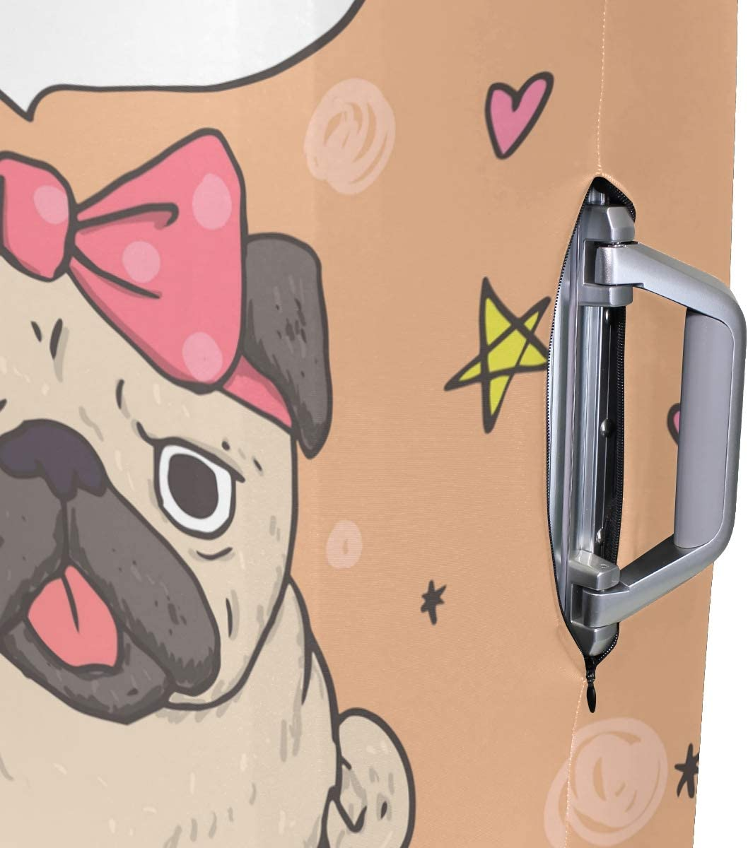 FOLPPLY Funny Pug Black Or White Luggage Cover Baggage Suitcase Travel Protector Fit for 18-32 Inch