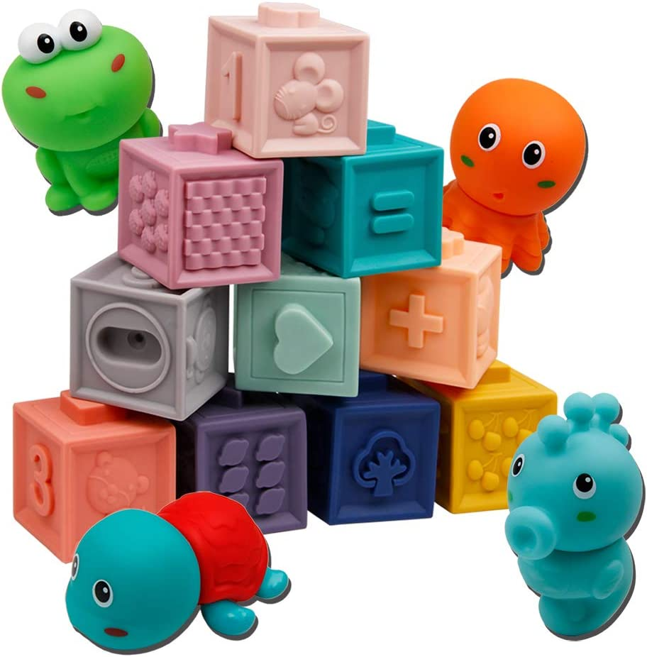 Elf Lab Baby Blocks with 3 Water Bath Squirties Animals , Building Blocks Teething Chewing Toys, Montessori Toys for 6-12 Months (Pack of 15)