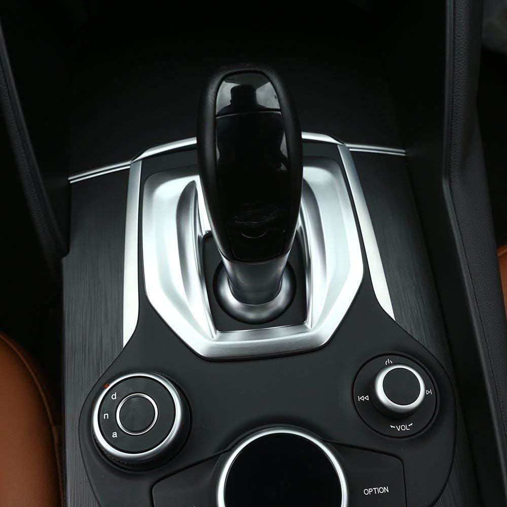 ABS Plastic Center Console Gear Shift Panel Cover Trim Accessories Matte Silver for Alfa Romeo Giulia 2017 2018, for Stelvio 2017 2018