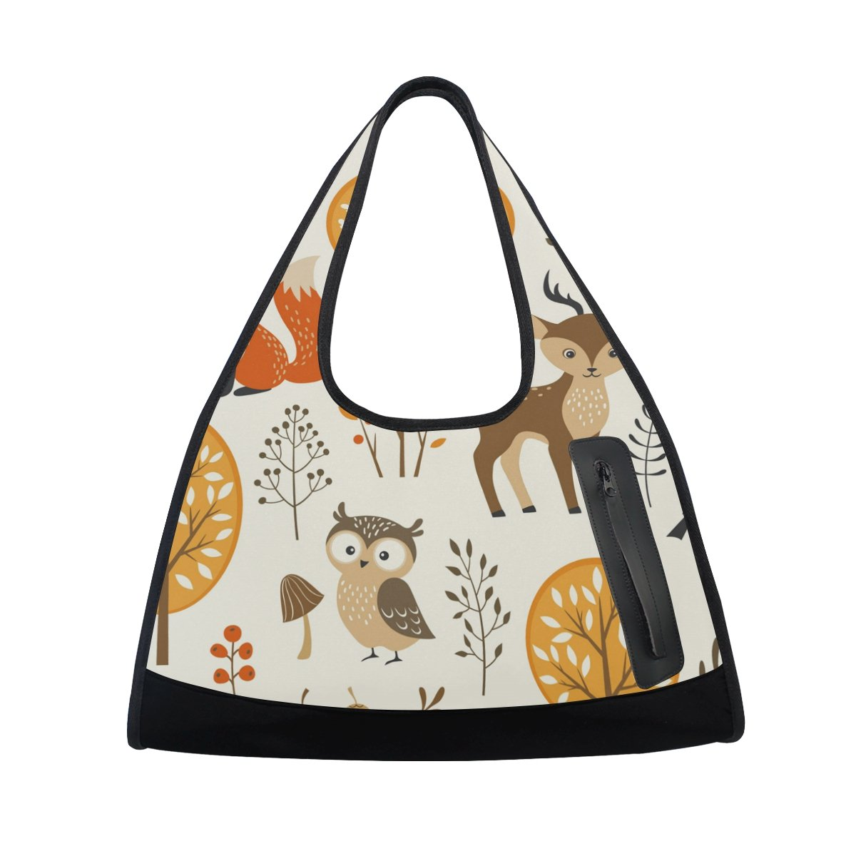 AHOMY Canvas Sports Gym Bag Tree Bird Owl Deer Fox Travel Shoulder Bag