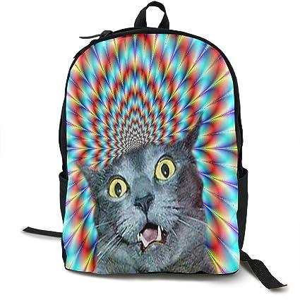 686fda0ab906 Amazon.com: Wialis8-id Crazy Cat Hallucination School Bookbags Teens ...