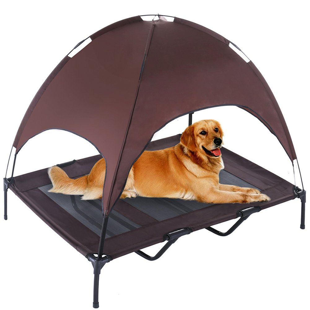 SUPERJARE XLarge Outdoor Dog Bed Elevated Pet Cot with Canopy   Portable for Camping or Beach   Durable 1680D Oxford Fabric   Brown