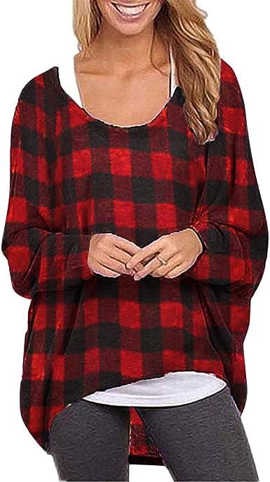 Camisetas de Mujer Manga Largas Tallas Grandes Invierno PAOLIAN Camisetas para Mujer Navidad Otoño Cuadros Anchas Camisas Fiesta Top Blusas Mujer Elegante de Vestir: Amazon.es: Ropa y accesorios