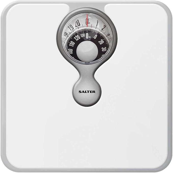 Salter Báscula de baño mecánica: pantalla con lente fácil de leer, conveniente plataforma acolchada, sin baterías, blanco: Amazon.es: Salud y cuidado personal