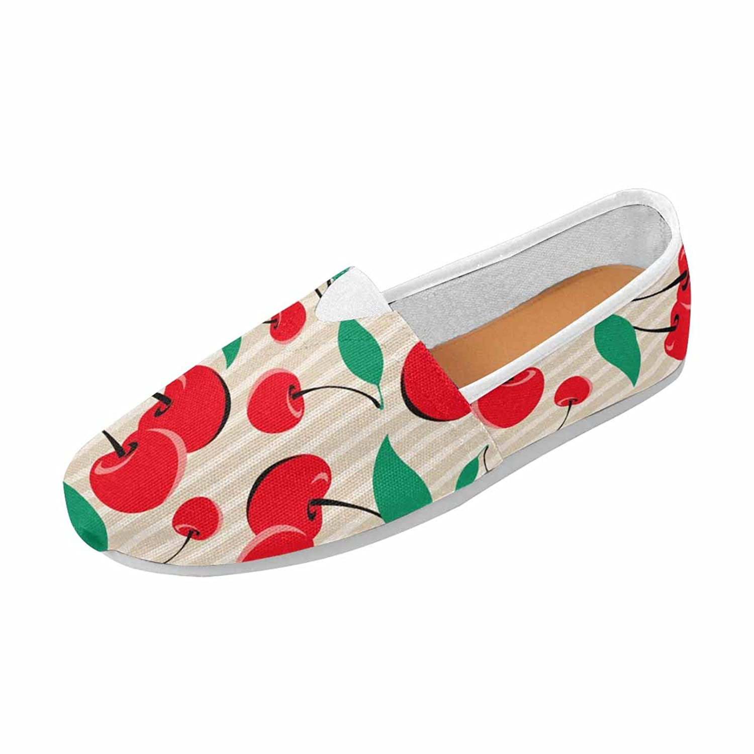 InterestPrint Women's Loafers Classic Casual Canvas Slip on Shoes Sneakers Flats Red Cherries from My Pattern Collection