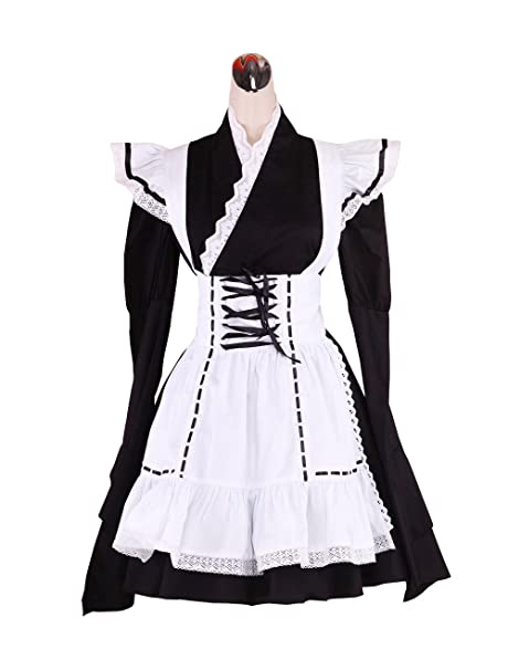 Antaina Delantal de algodón Negra Vestido de Cosplay Lolita Japonesa Kimono Sweet Maid,XS